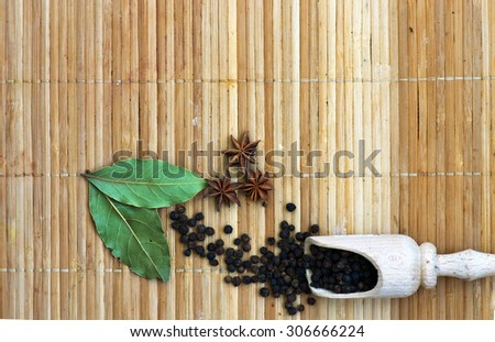 Spices. Spice in Wooden background. Herbs. - stock photo
