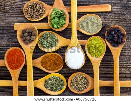 Spices. Spice in Wooden spoon. Herbs. - stock photo