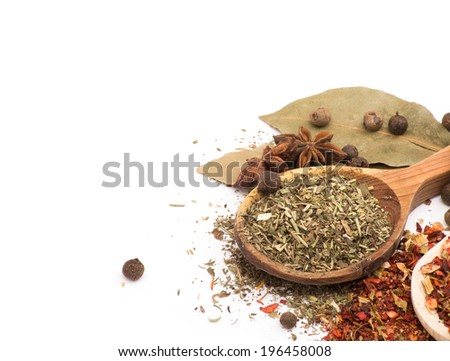 Spices. Spice in Wooden spoon. Herbs. Curry, Saffron, turmeric, cinnamon and other isolated on a white background - stock photo