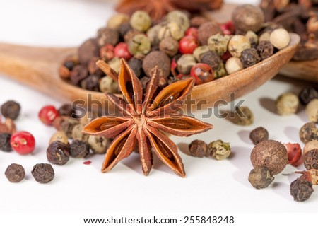 Spices. Spice in Wooden spoon. Herbs. Curry, Saffron, turmeric, cinnamon and other isolated on a white background. Pepper. Large collection of different spices and herbs isolated on white  - stock photo
