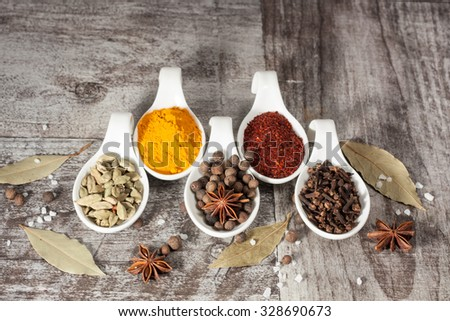 Spices. Spice in Wooden spoon. Herbs. Curry, Saffron, turmeric, cinnamon and other on a wooden rustic background. Pepper. Large collection of different spices and herbs. Salt, paprika.