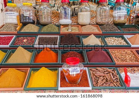 Spices Stall in the Spice Market - stock photo