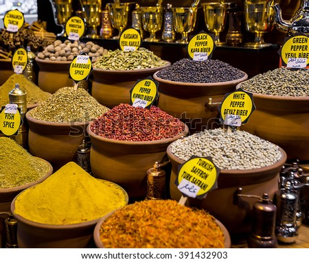 Spices, teas at the bazaar. The Turkish market.