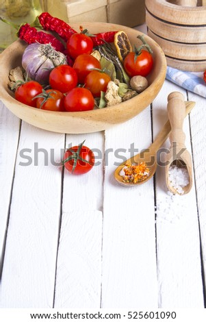 spices tomatoes kitchen table cook rustic wooden