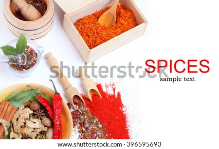 Spices wooden plate spoon spatula Isolated white backround