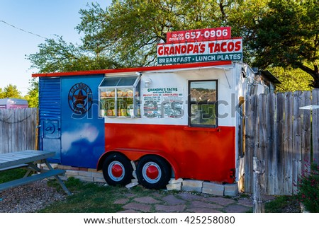 Spicewood, Texas USA - April 5, 2016: Grandpa's Tacos is a popular breakfast taco stand in suburban Austin.