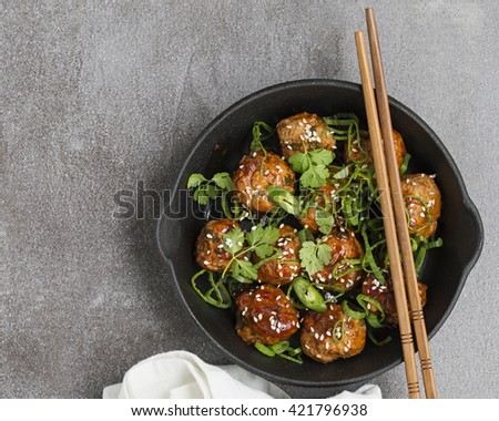 Spicy Asian Style Meatballs. Copy Space. - stock photo