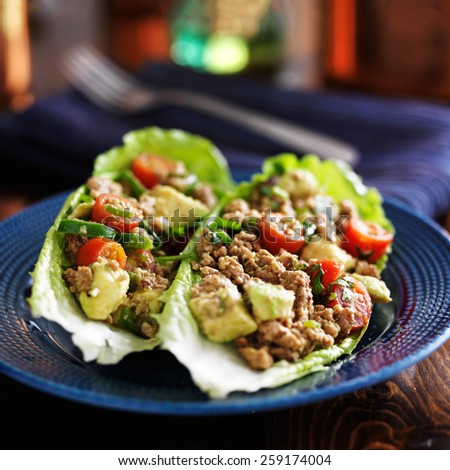 spicy avocado turkey lettuce wraps on blue plate - stock photo