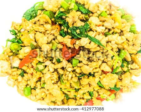 Spicy basil chickens,Thai food - stock photo