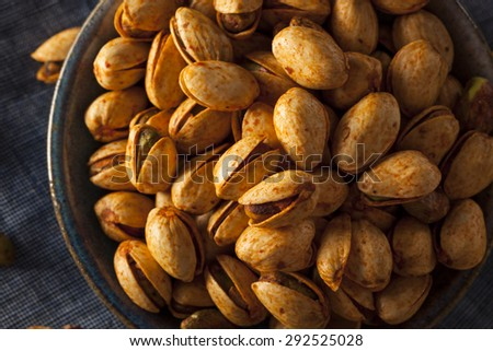 Spicy BBQ Chipotle Pistachios in a Bowl - stock photo