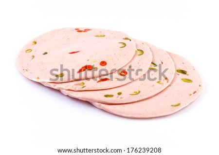 Spicy bologna on isolated white background - stock photo