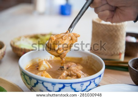 Spicy chicken curry , Traditional Thai style food - stock photo