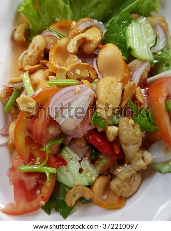 Spicy chicken salad with vegetables , Asian style food , Thailand