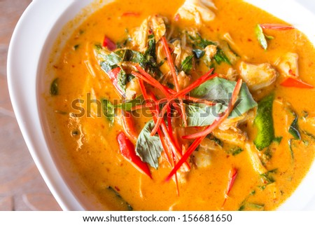 Spicy coconut milk crab soup - stock photo