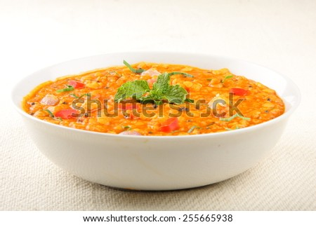 Spicy Dal curry,Lentil soup ,Indian cuisine.Selective focus. - stock photo
