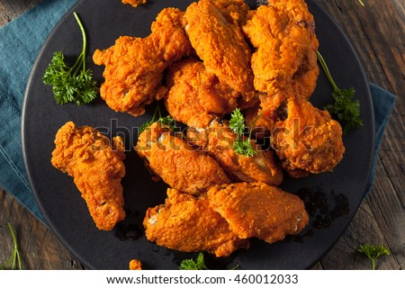 Spicy Deep Fried Breaded Chicken Wings With Ranch