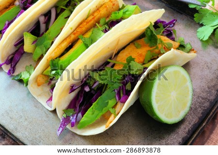 Fish tacos stock images royalty free images vectors for Spicy fish tacos