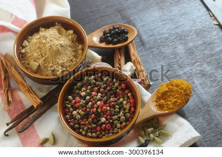 spicy food concept condiments background - stock photo