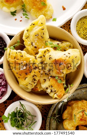 Spicy fried dumplings - stock photo