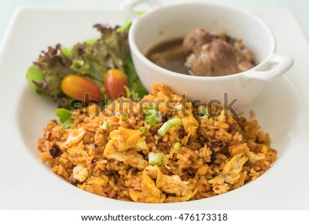 spicy fried rice with steamed pork ribs