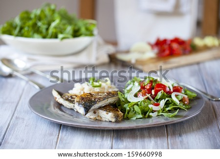 Spicy grilled mackerel with rice and salad - stock photo