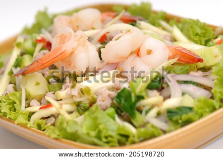 Spicy Kale Branch with Shrimp Salad