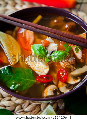 spicy korean broth soup with tofu