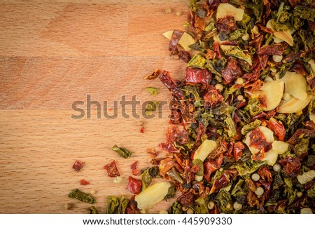 spicy mixture of pepper, garlic and other spices - stock photo