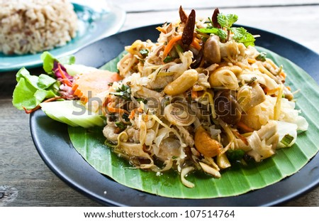 spicy mushroom salad : vegetarian thai food - stock photo