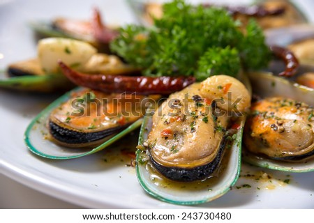 Spicy mussel - stock photo