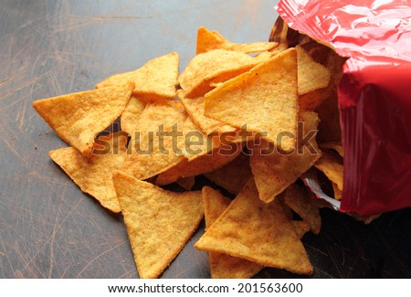 Spicy nachos chips on a wooden table - stock photo