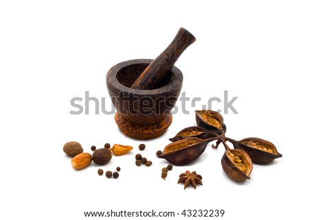 Spicy (papper, nutmeg, cloves) with mortar pn white background