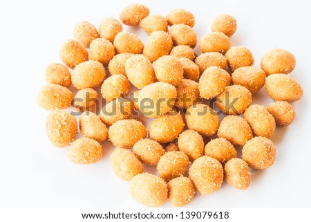 Spicy peanuts snack isolated on white background - stock photo