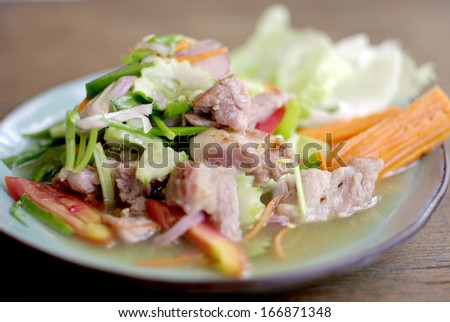 spicy pork salad, delicious Thai food