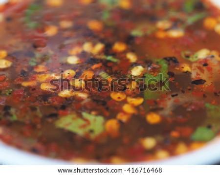 Spicy Pork Sauce, Roast Pork Sauce - stock photo