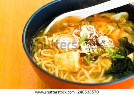Spicy Ramen , Ramen shrimp Tom yum , Ramen Tom yum kung - stock photo