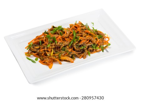 Spicy salad heh beef meat , carrots and green onions. From a series of Food Korean cuisine. - stock photo