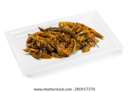 Spicy salad heh with eggplant heh and onions. From a series of Food Korean cuisine.  - stock photo