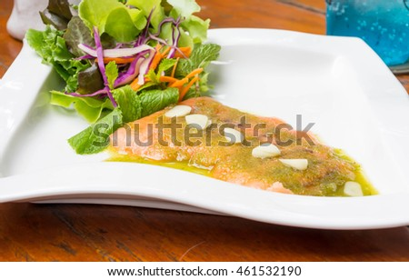 Spicy Salmon on the table