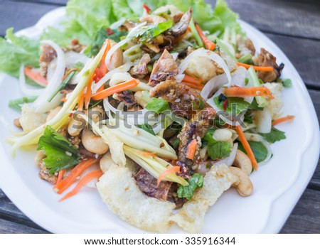 Spicy seafood and fish maw salad, stock photo