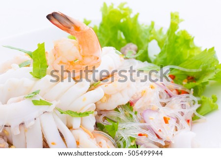 spicy seafood salad with glass noodle, Thai food