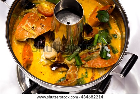 Spicy seafood soup pot meals Thailand.