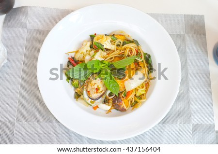 Spicy seafood spaghetti, thai food style - stock photo