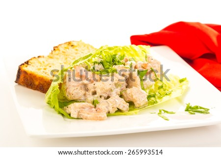 Spicy seasoning on shrimp salad in lettuce leaf wrap with slice of jalapeno cheese loaf on bright white background;  Red napkin and copy space. - stock photo