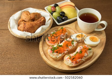 Spicy Shrimp eggs Baguette a breakfast menu