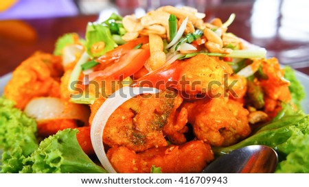 Spicy Slad with Fried Vegetable