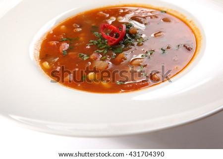 Spicy Soup Mexican style in plate