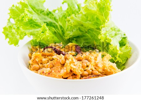 Spicy sour salad with fermented pork- Thai cuisine