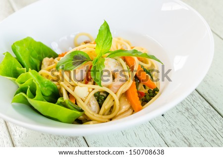 Spicy spaghetti - stock photo