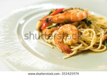 Spicy Spaghetti shrimp , italian food - stock photo